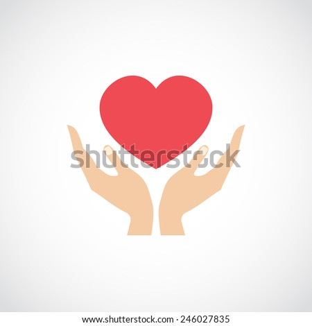 Human hands holding and protect red heart love and health symbol vector illustration - stock vector