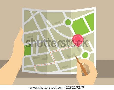Human hands holding map for consideration use magnifying glass - stock vector