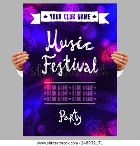 Human hands holding music festival poster with musical instruments vector illustration - stock vector