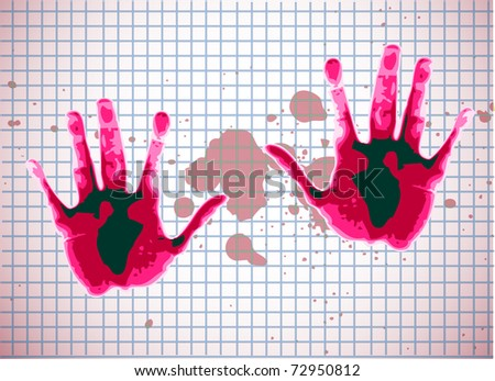 human hands on red paper - stock vector