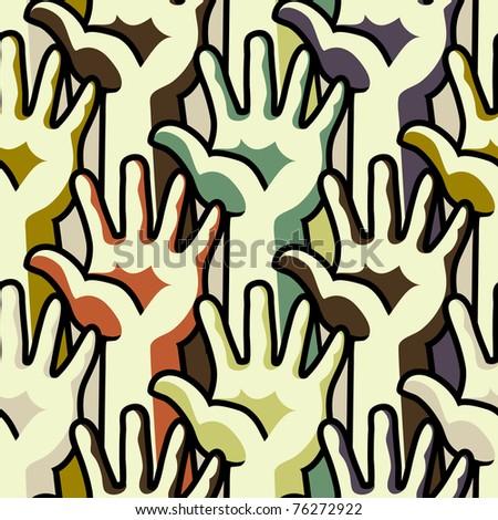 Human hands - seamless pattern - stock vector