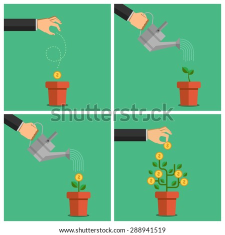 Human hands set watering money dollar coin tree. Illustration in flat design style. Finance business concept for presentation, booklet, website etc. - stock vector