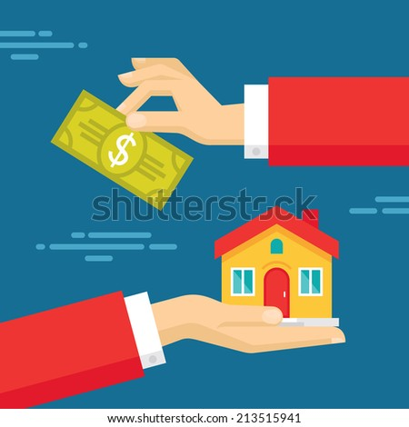 Human Hands with Dollar Money and House. Flat style concept design illustration. Real estate concept vector illustration.  - stock vector