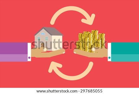 Human Hands with Dollar Money and House. Flat style concept design illustration. Real estate concept vector illustration. money exchange home. infographics. red background - stock vector