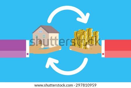 Human Hands with Dollar Money and House. Flat style concept design illustration. Real estate concept vector illustration. money exchange home. infographics. blue background - stock vector