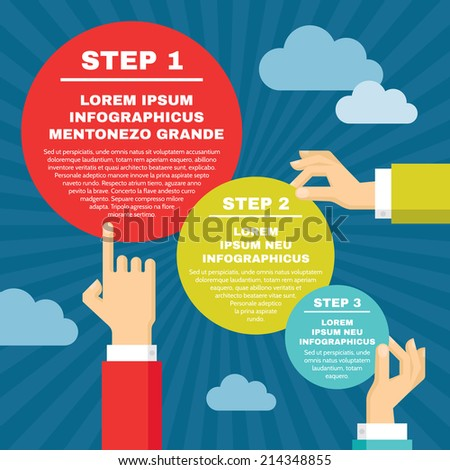 Human Hands with Infographic Round Blocks - Vector concept illustration in flat style design for creative projects. - stock vector