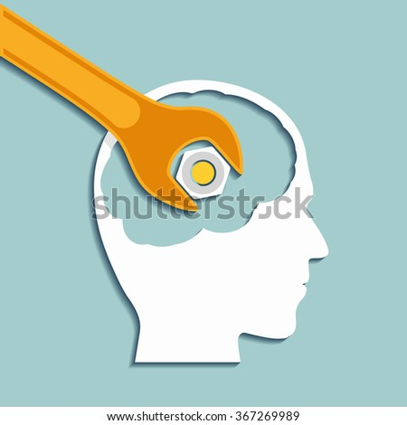 Human head and a wrench. Mental health. Flat graphics. Vector Stock illustration. - stock vector