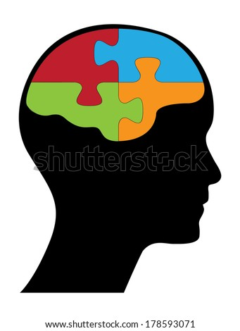 Human head and brain with puzzle pieces, creative think different concept vector design. - stock vector
