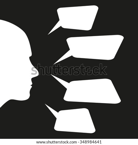 human head and bubbles dialogue - stock vector