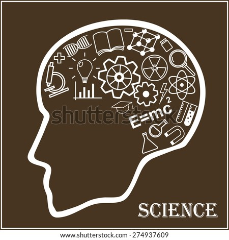 Human head and icons of science. The concept of scientific discoveries. Education and learning process. Vector illustration in linear style. - stock vector