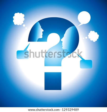 human head chat with question mark - stock vector