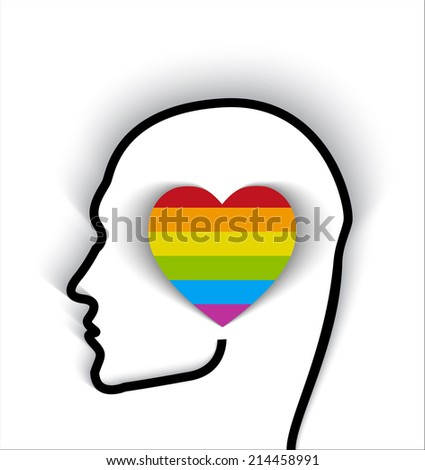 Human head contour with gay flag colors on heart shape - proud of being gay concept  - stock vector