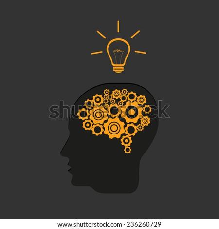 Human head creating a new idea - stock vector