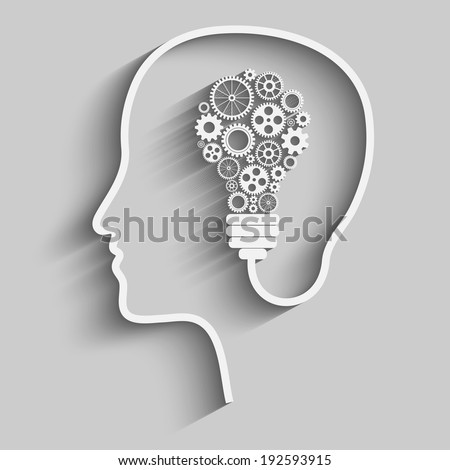 Human head creating a new idea. Creative Idea. vector. - stock vector