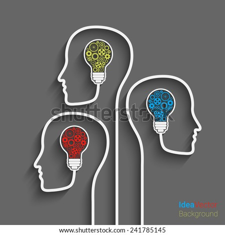 Human head creating a new idea. Eps10 vector for your design - stock vector