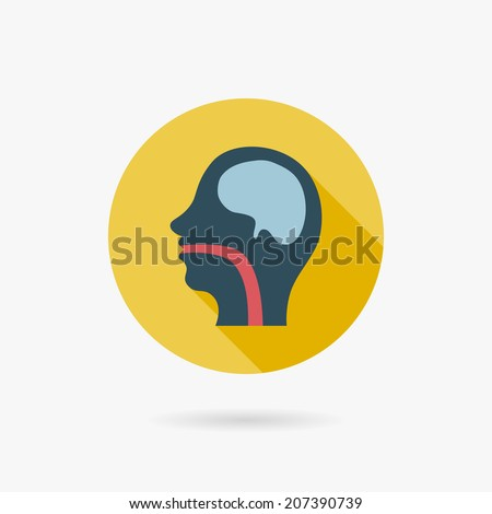 human head Flat style Icon with long shadows - stock vector