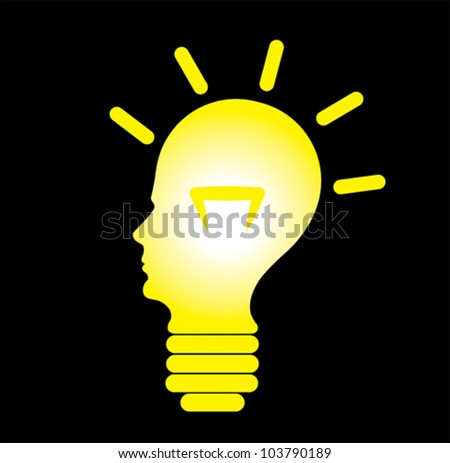 Human head in shape of a glowing bulb, concept of idea generation, problem solving and creative solution generation. - stock vector