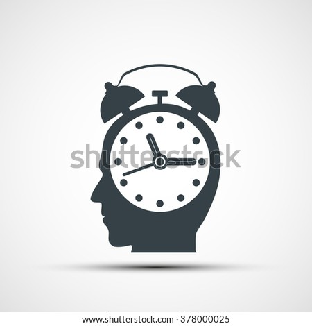 Human head in the form of an alarm clock. Stock vector illustration. - stock vector