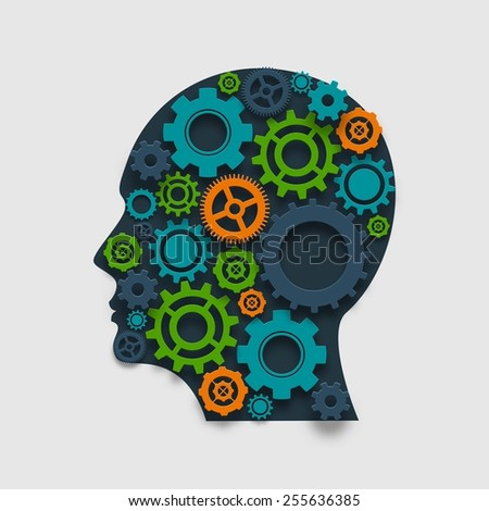 Human head made of colored gears brain thinking and creativity mechanism concept vector illustration - stock vector