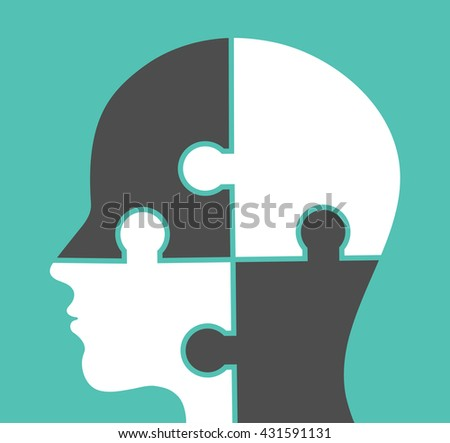 Human head made of puzzle pieces - stock vector