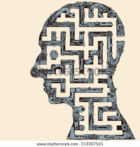 Human Head Maze. - stock vector
