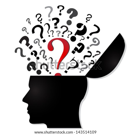 human head open with question marks / red question/ vector illustration - stock vector