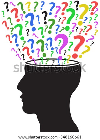 human head opened with question marks - stock vector