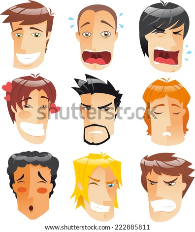 Human Head People Front View Avatar Profile Men faces set collection, vector illustration cartoon.  - stock vector