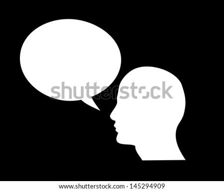 Human head shape with blank dialog cloud vector - stock vector