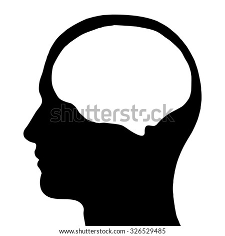 Human head silhouette - stock vector