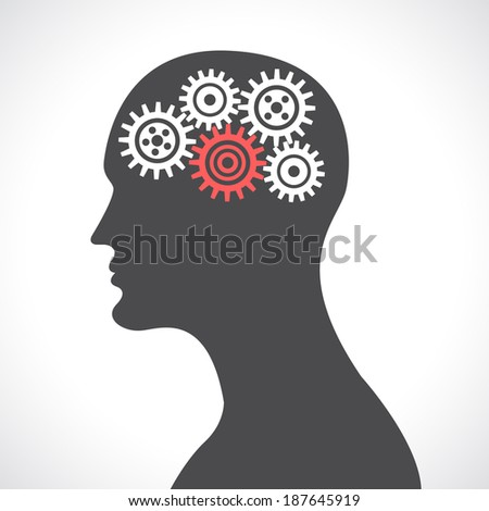 Human head silhouette thinking with gears and cogwheels poster vector illustration