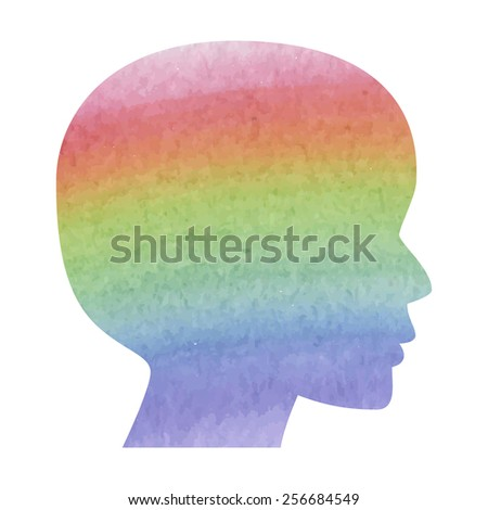 Human head silhouette. Watercolor effect