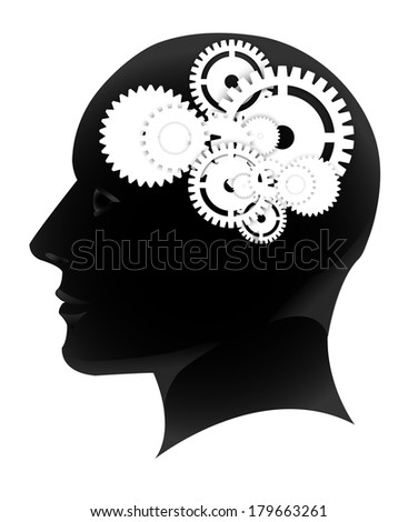 Human head silhouette with set of gears - stock vector