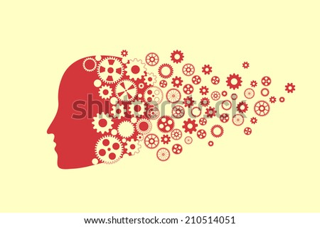 Human head silhouette with set of gears as a brain. Fly Dreams eps10 vector - stock vector