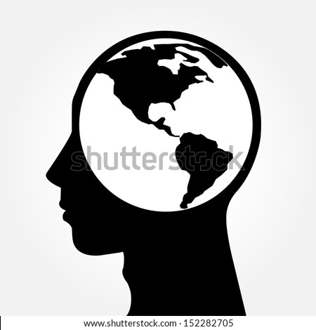 Human head silhouette with world map as a brain - thinking and innovation concept - stock vector