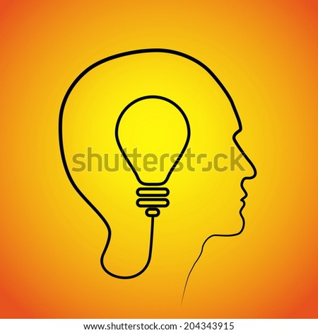 Human head thinking a new idea. Creative Idea. vector - stock vector