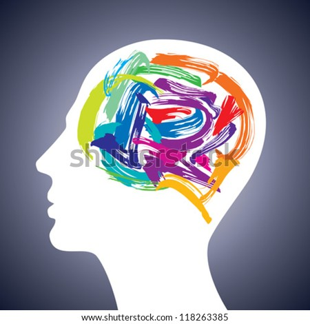 human head thinking. making from brush stocks - stock vector