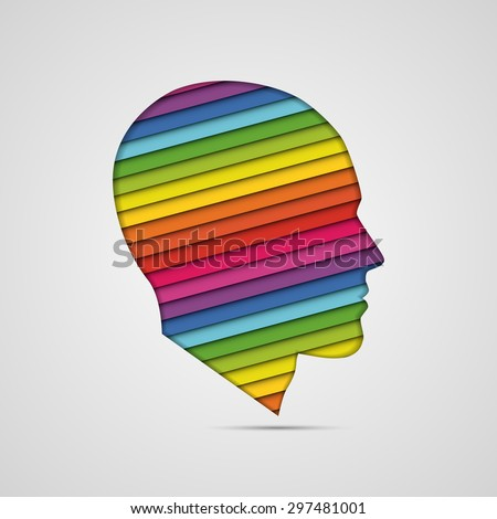 human head thinking. making from multicolor - stock vector