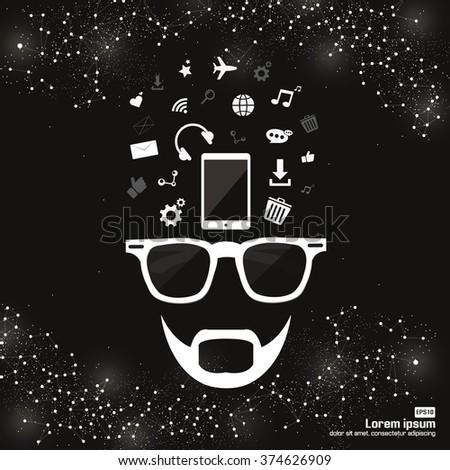 Human head thinking social network - stock vector