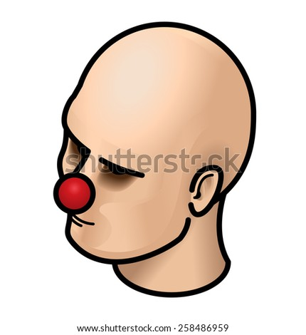 Human head with a red clown's nose. - stock vector