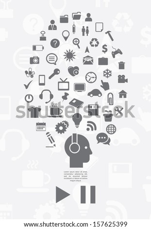 Human head with an interface icons - stock vector