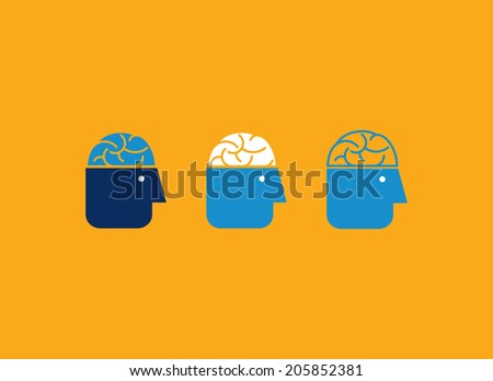 Human head with brain. Abstract vector icons. - stock vector