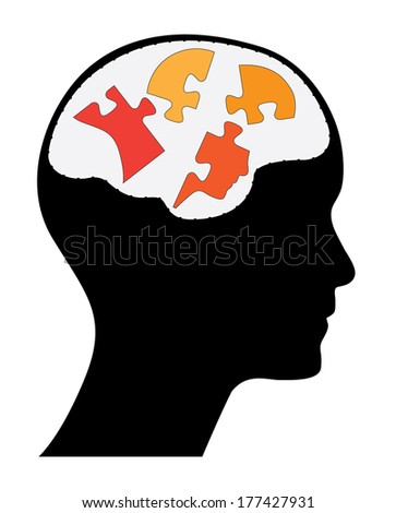 Human head with brain and head shaped puzzle pieces, creative strategy concept vector design. - stock vector