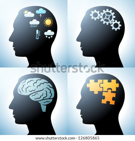 Human head with brain concepts, eps10 vector - stock vector