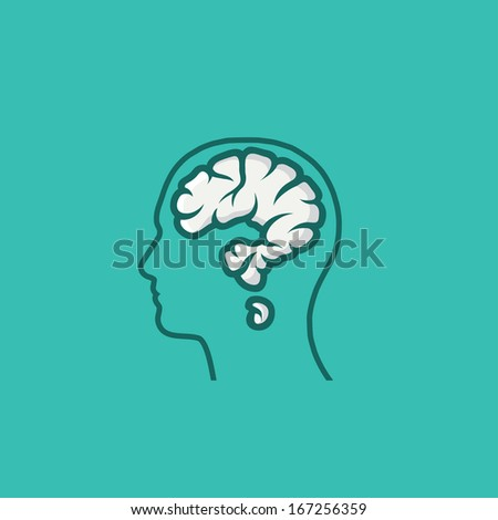 Human head with brain in shape of question mark - vector illustration - stock vector