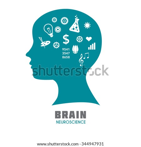 Human head with brain with symbolic brain functions. Medical science vector illustration. Brain sign template for Neuroscience, Psychology & Medicine. Symbolic brain division. Sample text. Editable. - stock vector
