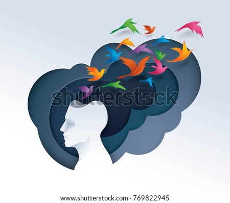 Psychology stock images royalty free images vectors shutterstock human head with colorful birds flying from head freedom and relax mind creative ideas thecheapjerseys Image collections