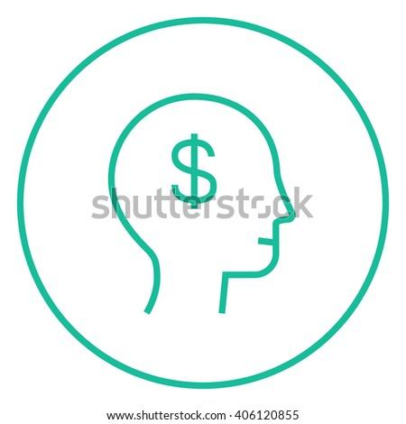 Human head with dollar symbol line icon. - stock vector
