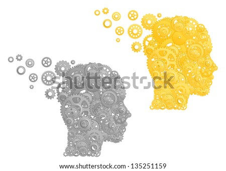 Human head with gears and pinions. Concept of working brain. Jpeg version also available in gallery - stock vector