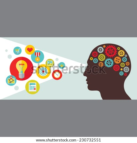 Human head with gears banner. Creative idea sight concept illustration. Vector icons in flat style. Design elements.